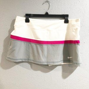 Nike Dri Fit Court Tennis Skort White Gray Pink